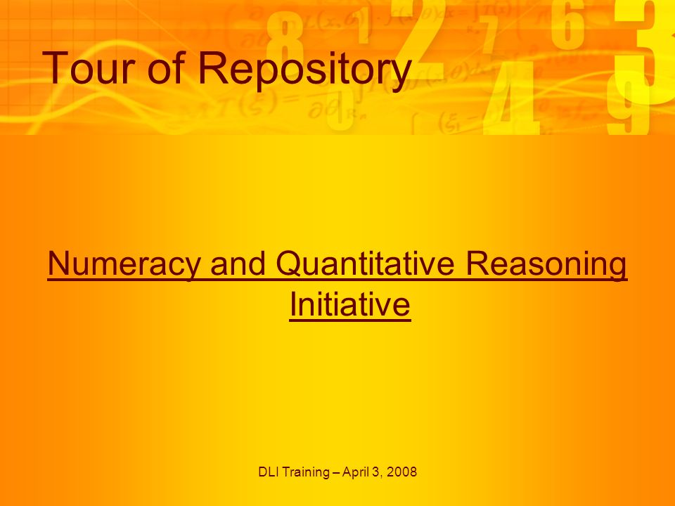 DLI Training – April 3, 2008 Tour of Repository Numeracy and Quantitative Reasoning Initiative