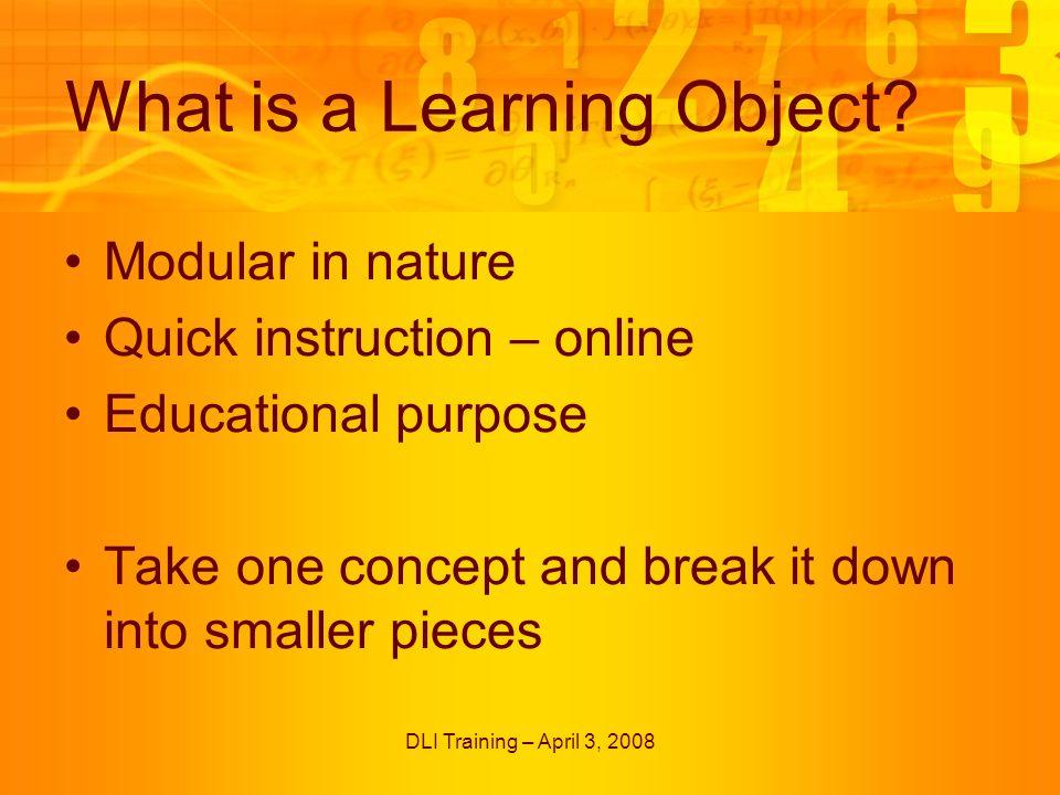 DLI Training – April 3, 2008 Quiz Templates – Drag n Drop