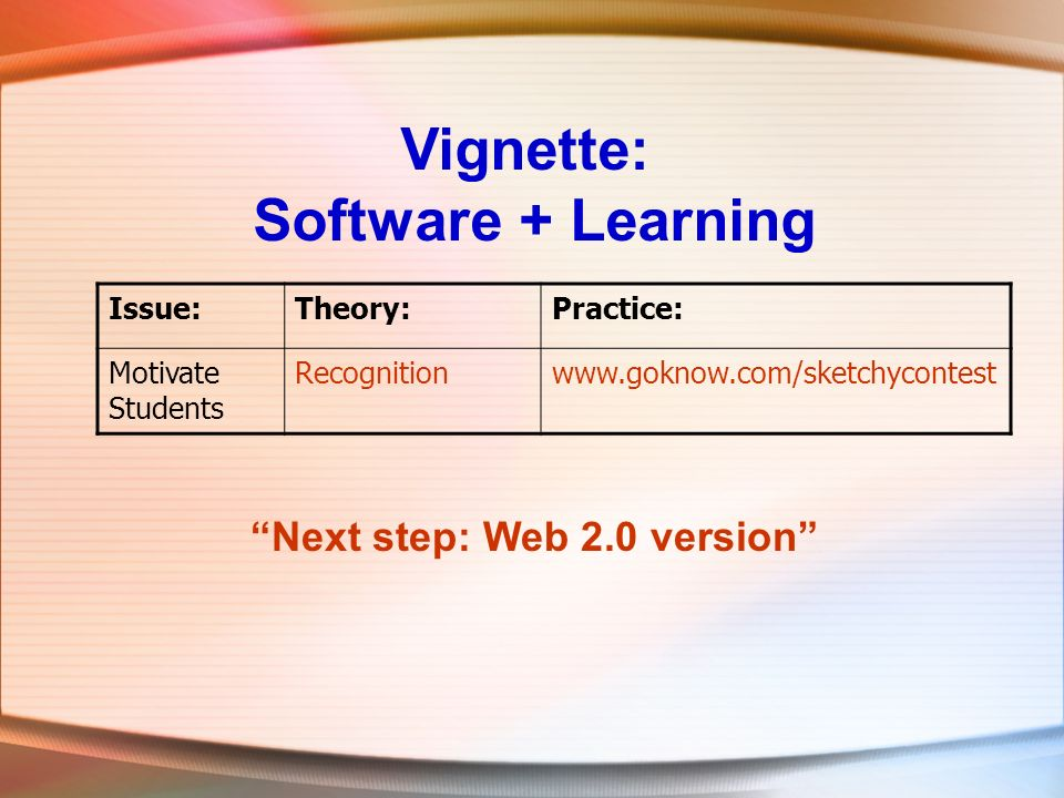 Vignette: Software + Learning Issue:Theory:Practice: Motivate Students Recognitionwww.goknow.com/sketchycontest Next step: Web 2.0 version