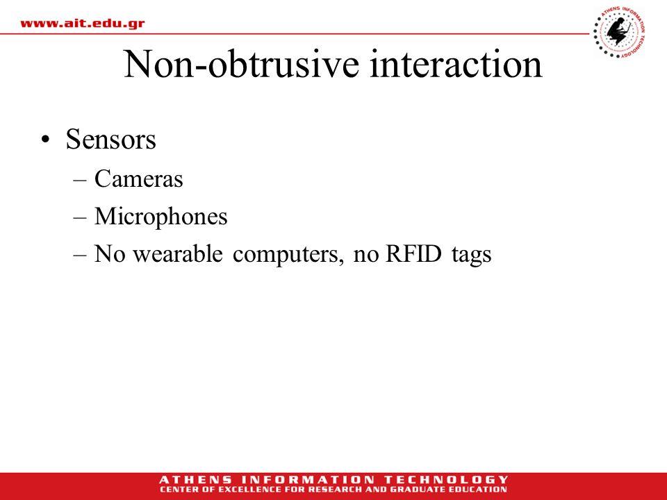 Non-obtrusive interaction Sensors –Cameras –Microphones –No wearable computers, no RFID tags