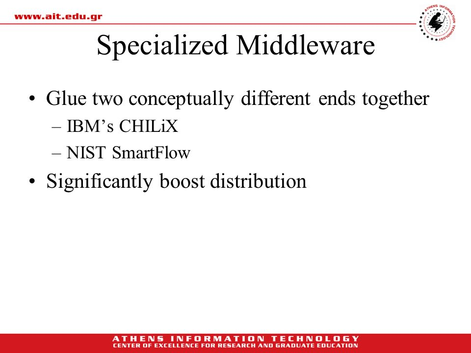 Specialized Middleware Glue two conceptually different ends together –IBMs CHILiX –NIST SmartFlow Significantly boost distribution