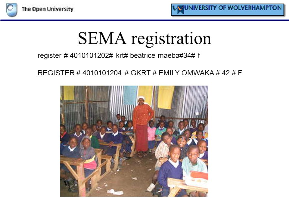 SEMA registration register # 4010101202# krt# beatrice maeba#34# f REGISTER # 4010101204 # GKRT # EMILY OMWAKA # 42 # F