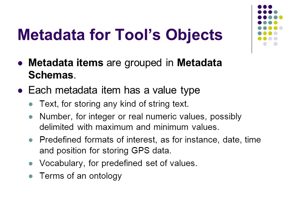 Metadata for Tools Objects Metadata items are grouped in Metadata Schemas. Each metadata item has a value type Text, for storing any kind of string te
