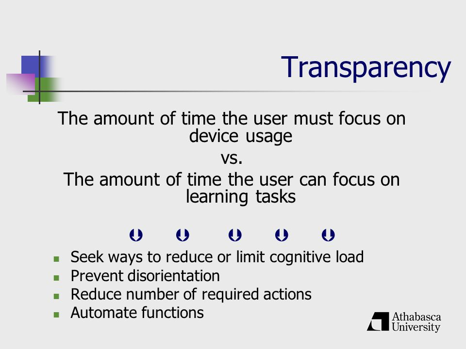 Transparency The amount of time the user must focus on device usage vs.