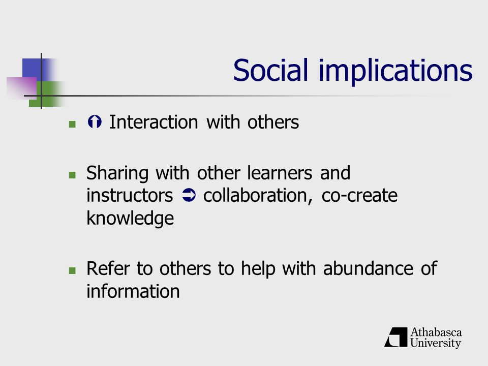 Social implications Interaction with others Sharing with other learners and instructors collaboration, co-create knowledge Refer to others to help with abundance of information