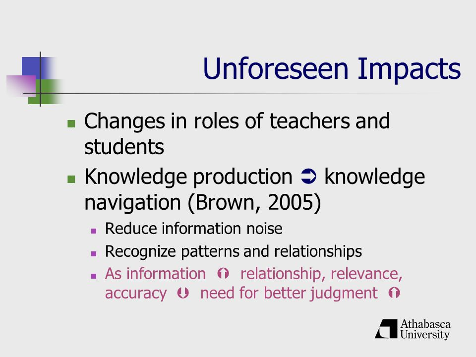 Unforeseen Impacts Changes in roles of teachers and students Knowledge production knowledge navigation (Brown, 2005) Reduce information noise Recognize patterns and relationships As information relationship, relevance, accuracy need for better judgment