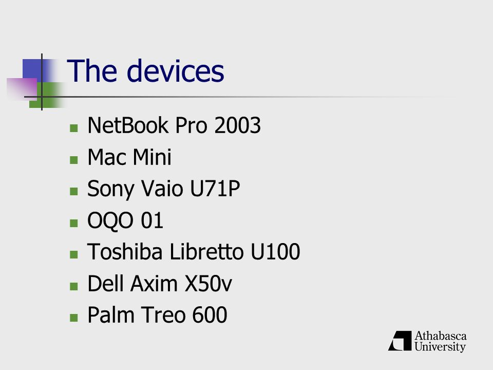 The devices NetBook Pro 2003 Mac Mini Sony Vaio U71P OQO 01 Toshiba Libretto U100 Dell Axim X50v Palm Treo 600