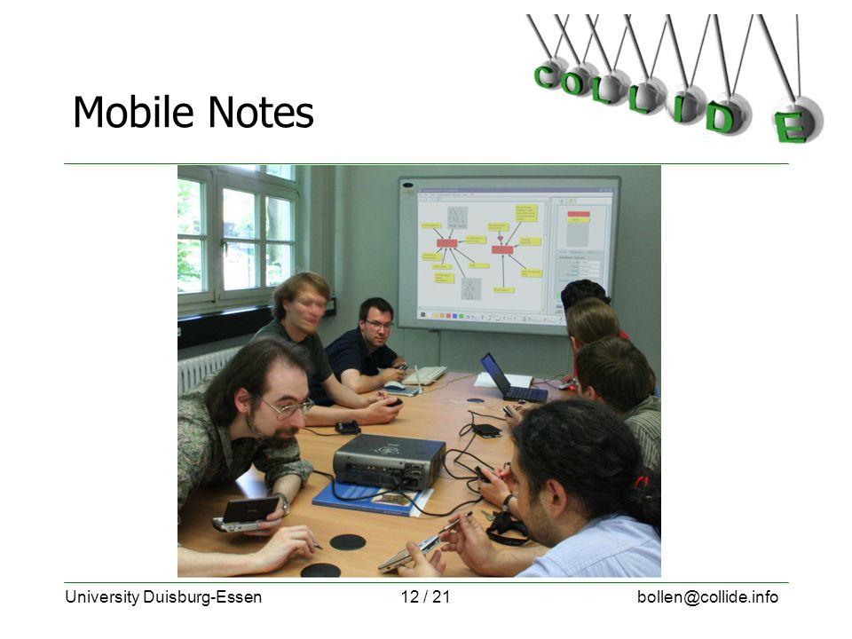 University Duisburg-Essenbollen@collide.info12 / 21 Mobile Notes