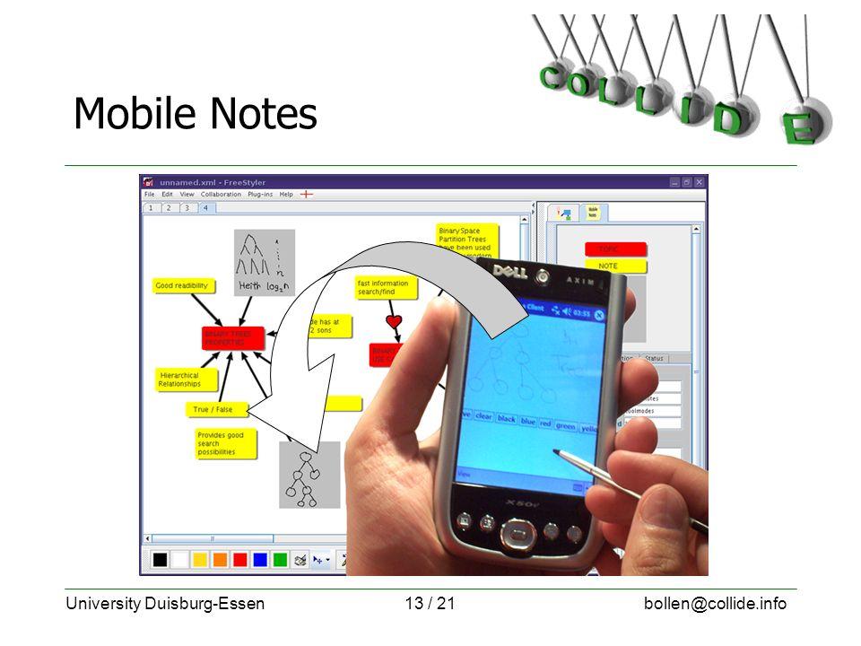 University Duisburg-Essenbollen@collide.info13 / 21 Mobile Notes