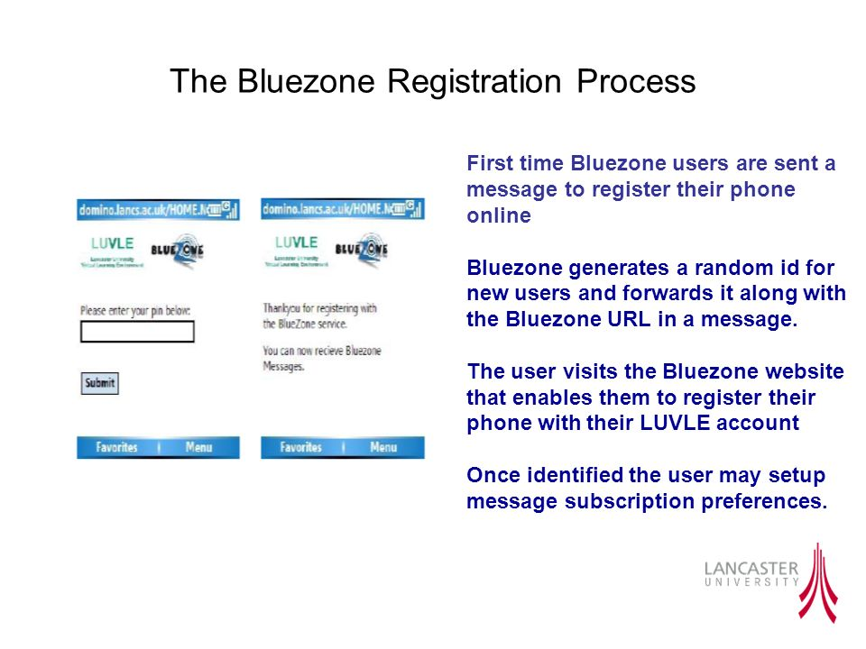 The Bluezone Registration Process First time Bluezone users are sent a message to register their phone online Bluezone generates a random id for new users and forwards it along with the Bluezone URL in a message.