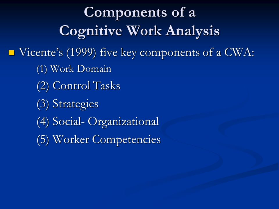 Components of a Cognitive Work Analysis Vicentes (1999) five key components of a CWA: Vicentes (1999) five key components of a CWA: (1) Work Domain (2