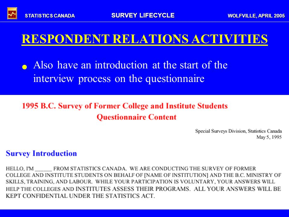 STATISTICS CANADA SURVEY LIFECYCLE WOLFVILLE, APRIL 2005 RESPONDENT RELATIONS ACTIVITIES Also have an introduction at the start of the interview process on the questionnaire
