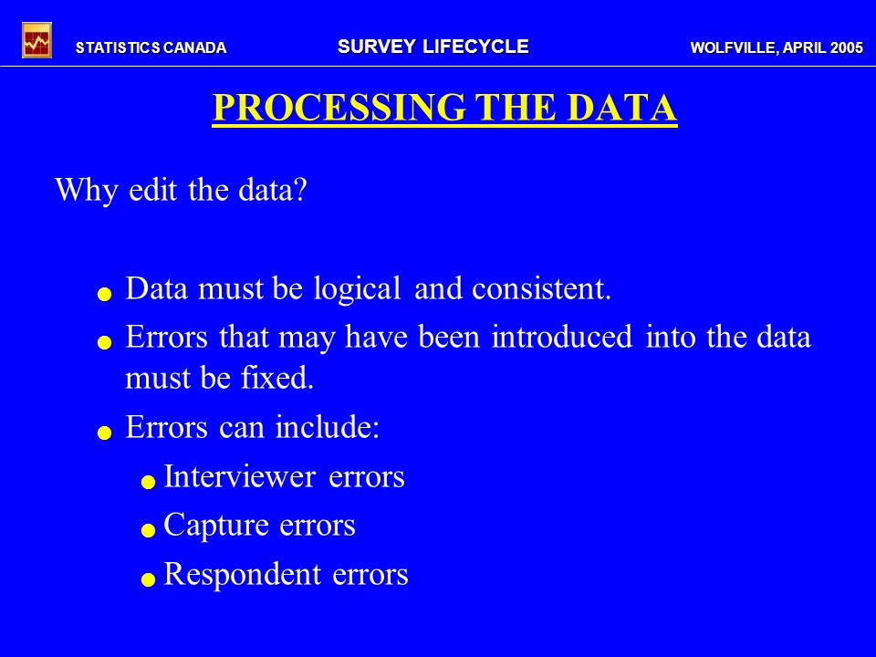 STATISTICS CANADA SURVEY LIFECYCLE WOLFVILLE, APRIL 2005 PROCESSING THE DATA Why edit the data.