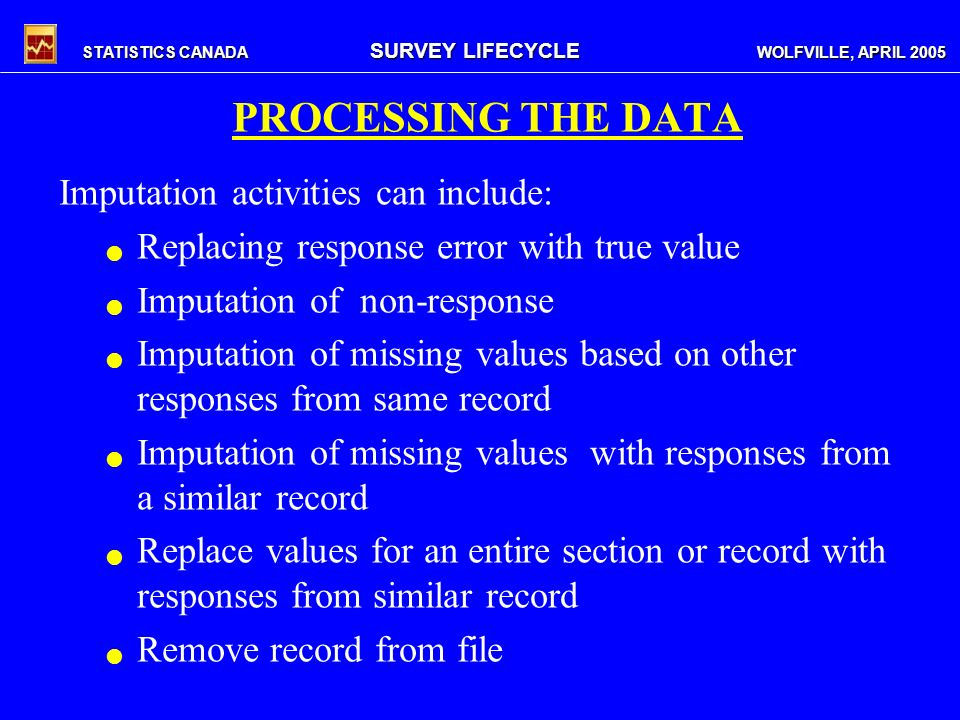 STATISTICS CANADA SURVEY LIFECYCLE WOLFVILLE, APRIL 2005 PROCESSING THE DATA Imputation activities can include: Replacing response error with true value Imputation of non-response Imputation of missing values based on other responses from same record Imputation of missing values with responses from a similar record Replace values for an entire section or record with responses from similar record Remove record from file