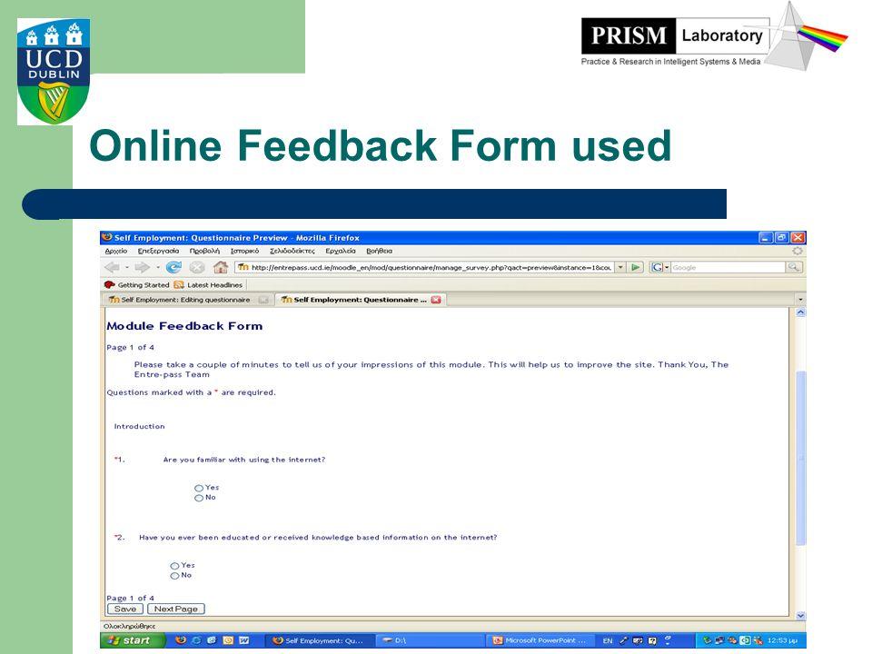 Online Feedback Form used