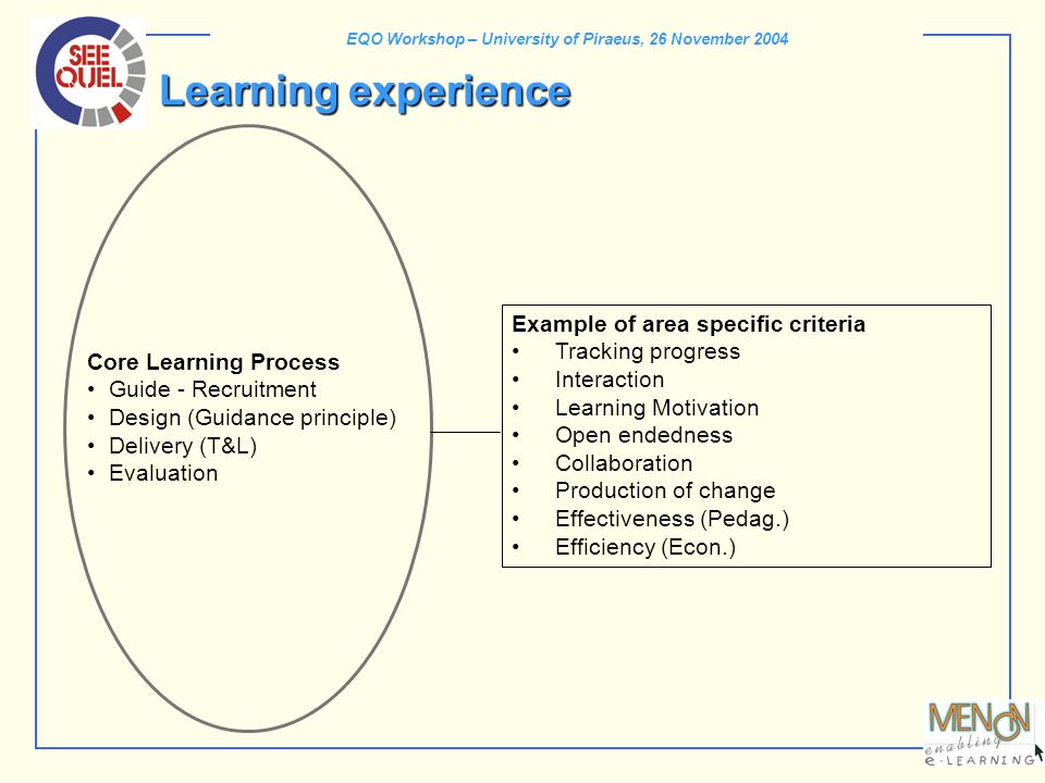 EQO Workshop – University of Piraeus, 26 November 2004 Core Learning Process Guide - Recruitment Design (Guidance principle) Delivery (T&L) Evaluation
