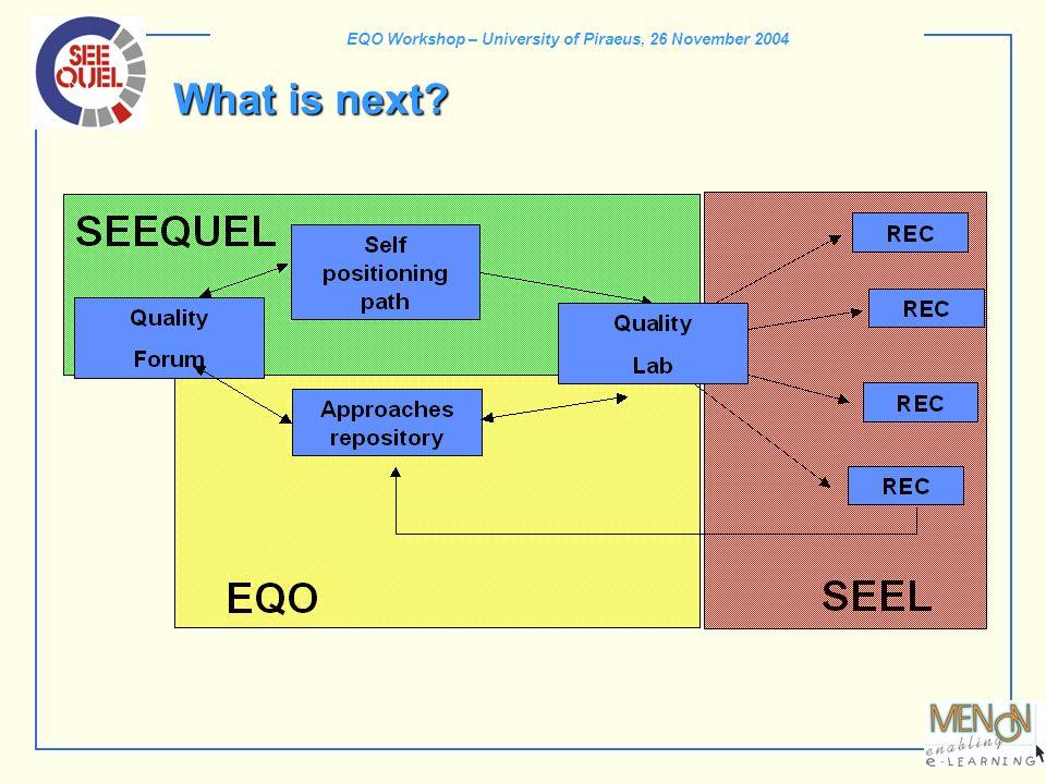 EQO Workshop – University of Piraeus, 26 November 2004 What is next?