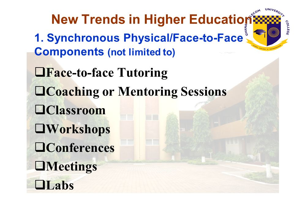 New Trends in Higher Education Internet conferencing Audio Conferencing (i.e., phone conferencing) Live Video via satellite or Videoconferencing Virtual Online Classroom Instant Messaging 2.