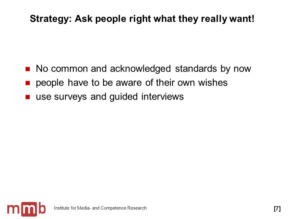 Institute for Media- and Competence Research Strategy: Give people the quality measures they really want.