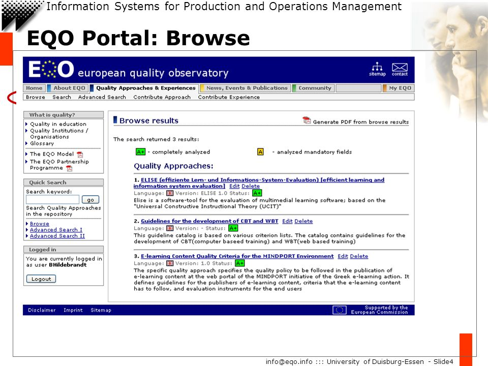 Information Systems for Production and Operations Management info@eqo.info ::: University of Duisburg-Essen - Slide4 EQO Portal: Browse