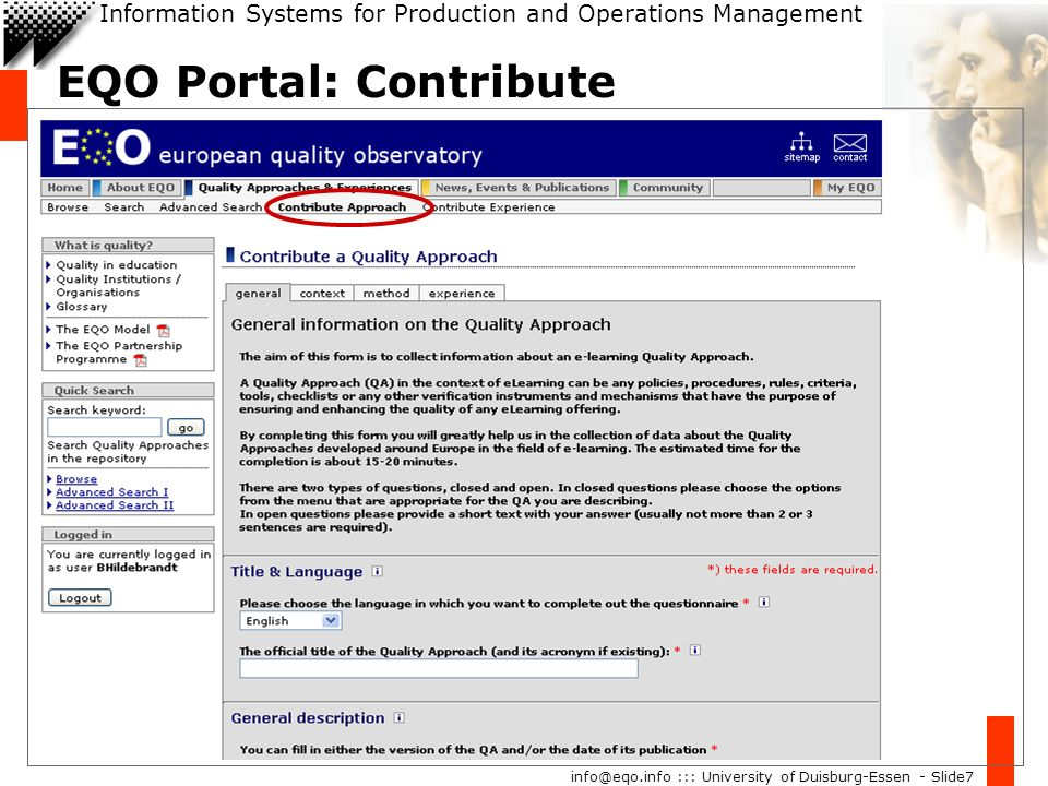Information Systems for Production and Operations Management info@eqo.info ::: University of Duisburg-Essen - Slide7 EQO Portal: Contribute