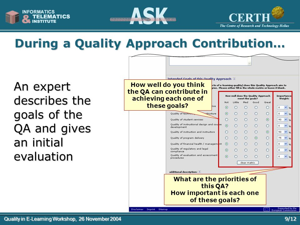 9/12Quality in E-Learning Workshop, 26 November 2004 During a Quality Approach Contribution… An expert describes the goals of the QA and gives an init