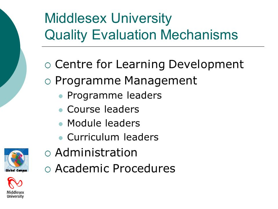 Middlesex University Quality Evaluation Mechanisms Centre for Learning Development Programme Management Programme leaders Course leaders Module leaders Curriculum leaders Administration Academic Procedures