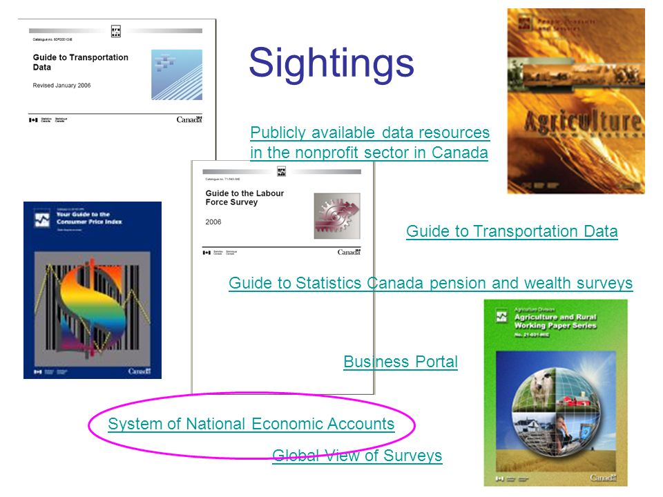 Sightings Global View of Surveys Guide to Statistics Canada pension and wealth surveys Publicly available data resources in the nonprofit sector in Canada Guide to Transportation Data Business Portal System of National Economic Accounts