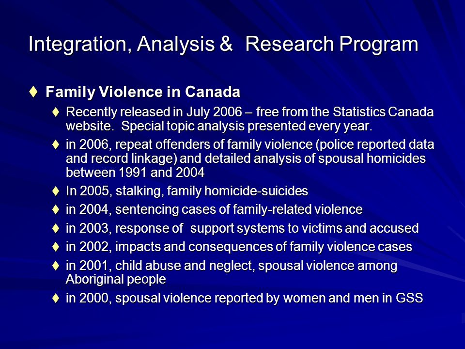 Integration, Analysis & Research Program Family Violence in Canada Family Violence in Canada Recently released in July 2006 – free from the Statistics Canada website.