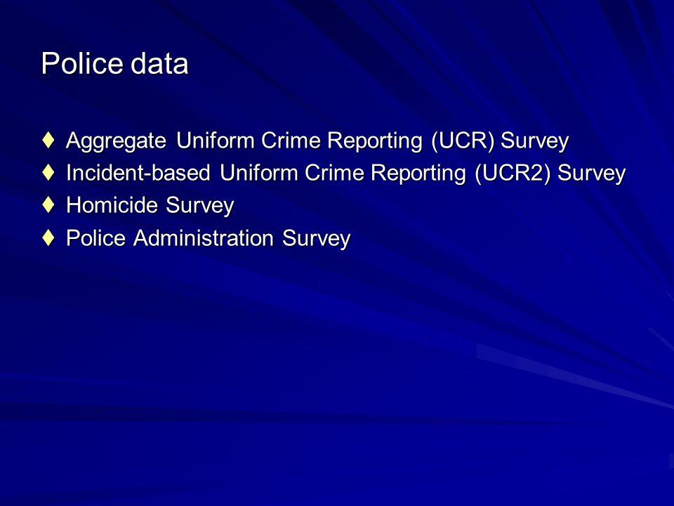 Police data Aggregate Uniform Crime Reporting (UCR) Survey Aggregate Uniform Crime Reporting (UCR) Survey Incident-based Uniform Crime Reporting (UCR2) Survey Incident-based Uniform Crime Reporting (UCR2) Survey Homicide Survey Homicide Survey Police Administration Survey Police Administration Survey