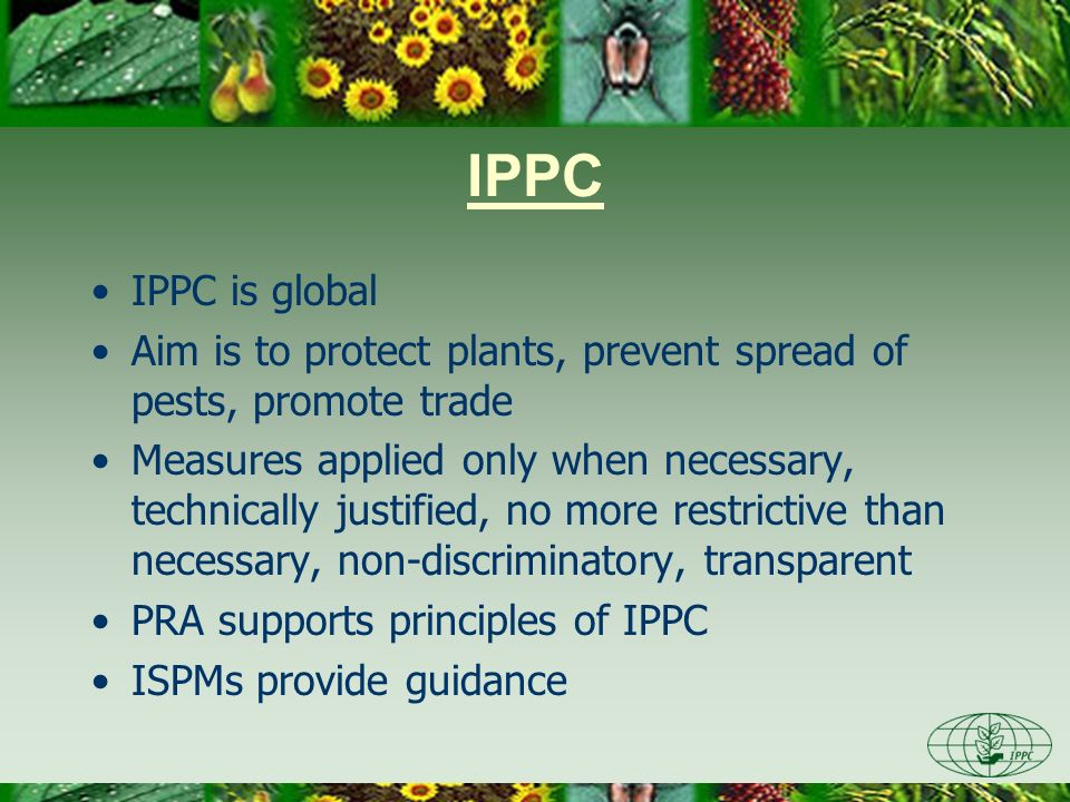 IPPC IPPC is global Aim is to protect plants, prevent spread of pests, promote trade Measures applied only when necessary, technically justified, no m