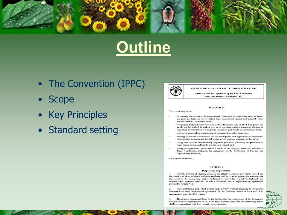 IPPC The IPPC makes provision for trade in a plant protection agreement...
