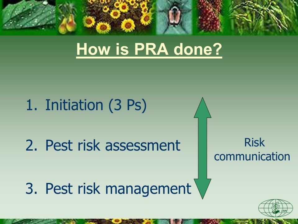 How is PRA done? 1.Initiation (3 Ps) 2.Pest risk assessment 3.Pest risk management Risk communication
