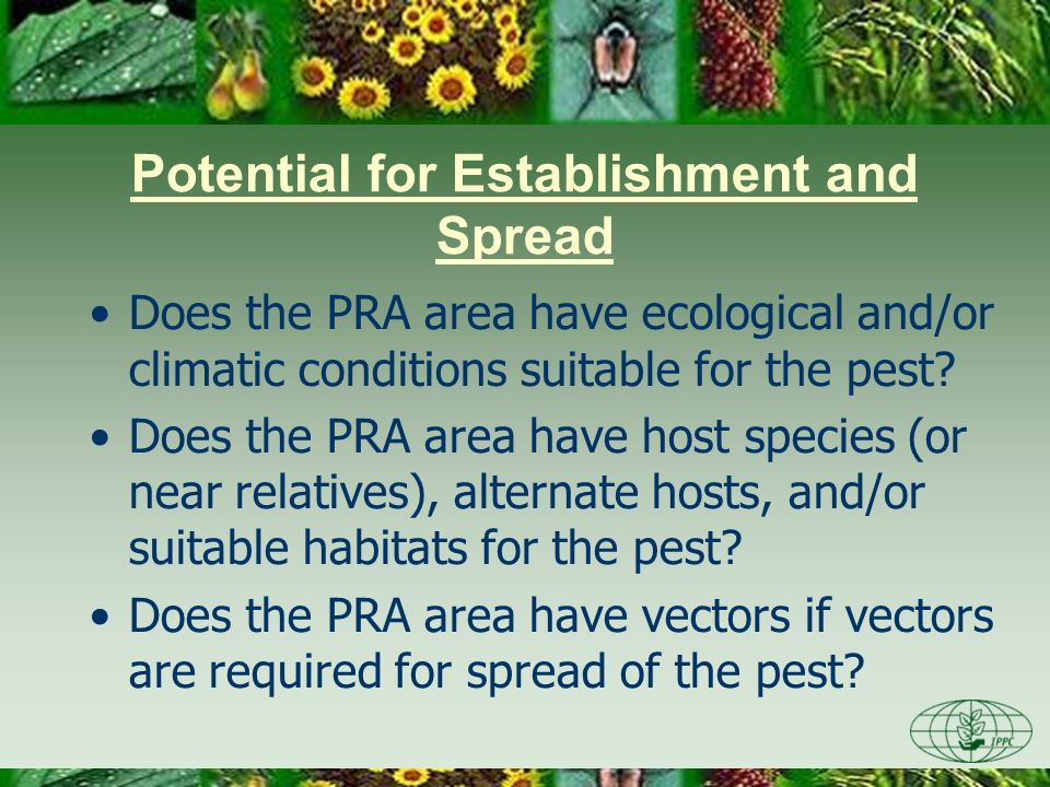 Does the PRA area have ecological and/or climatic conditions suitable for the pest? Does the PRA area have host species (or near relatives), alternate