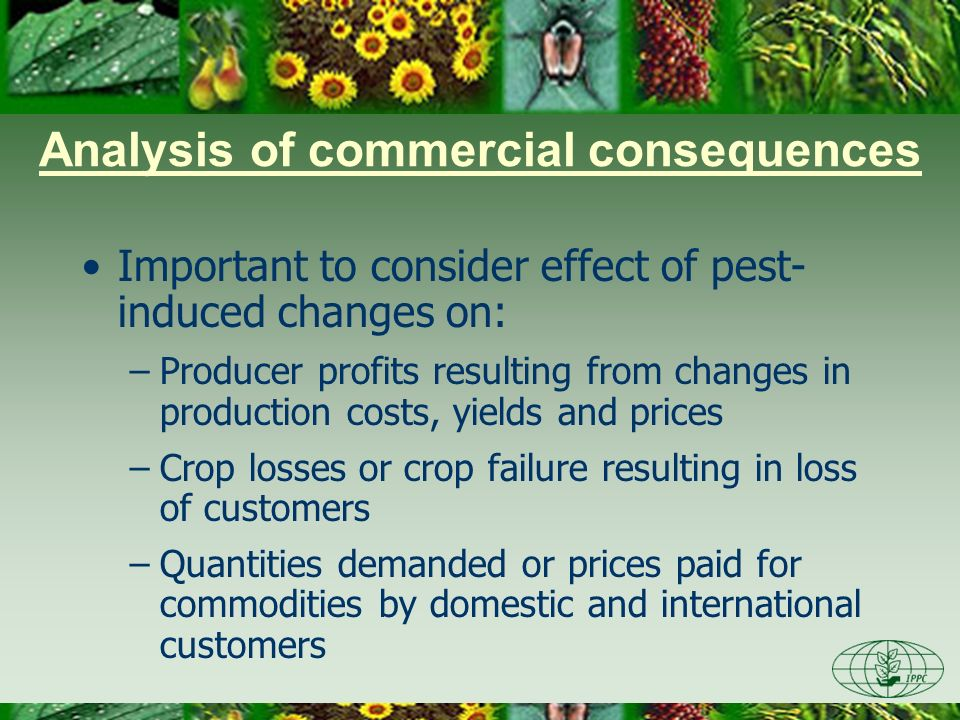Analysis of commercial consequences Important to consider effect of pest- induced changes on: –Producer profits resulting from changes in production c
