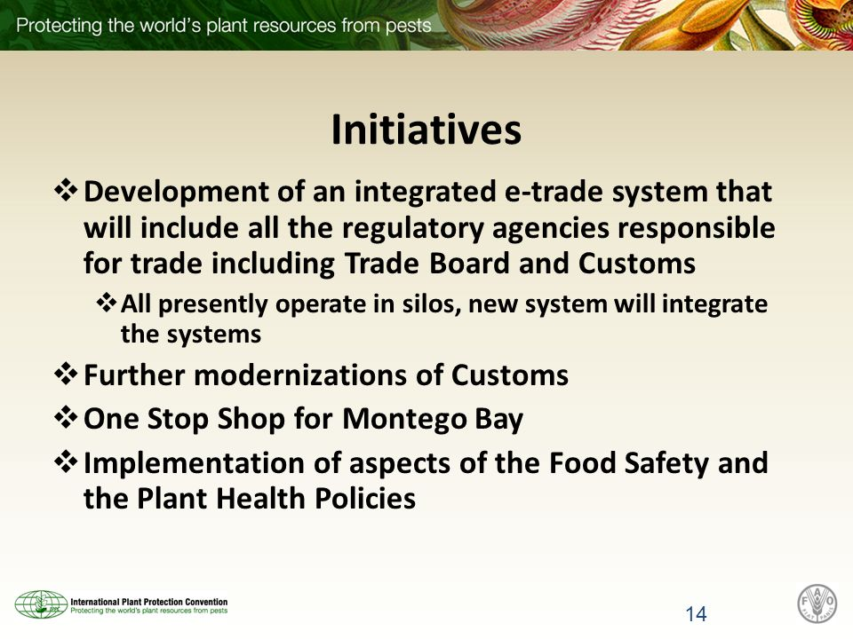 Initiatives Development of an integrated e-trade system that will include all the regulatory agencies responsible for trade including Trade Board and Customs All presently operate in silos, new system will integrate the systems Further modernizations of Customs One Stop Shop for Montego Bay Implementation of aspects of the Food Safety and the Plant Health Policies 14