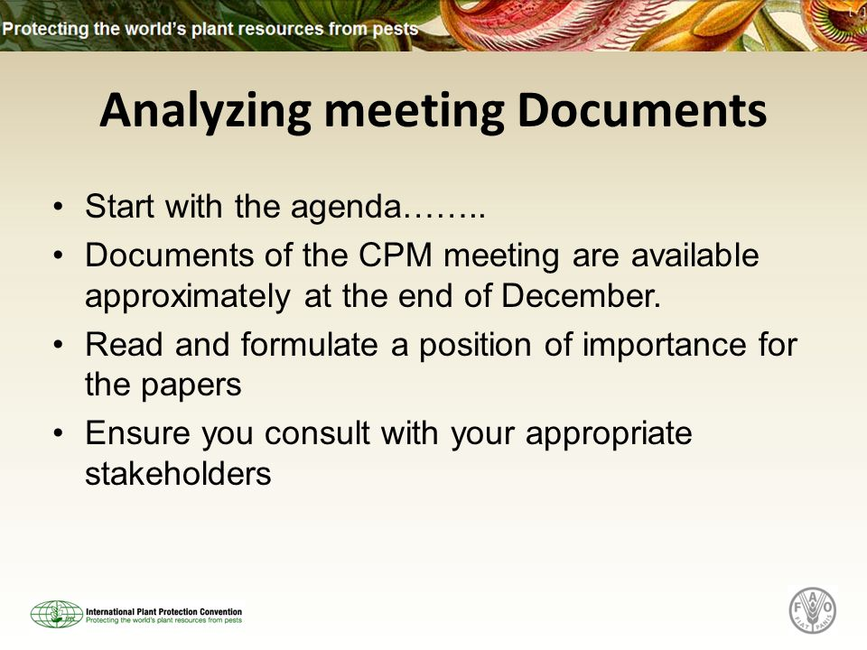 Analyzing meeting Documents Start with the agenda……..