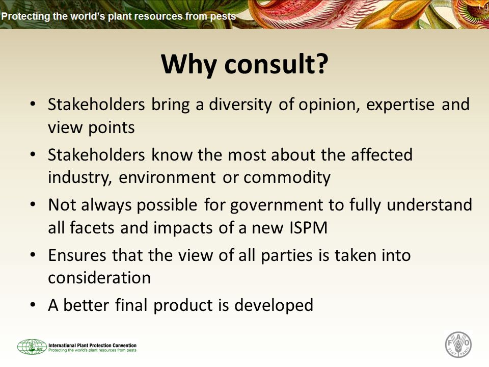 Why consult? Stakeholders bring a diversity of opinion, expertise and view points Stakeholders know the most about the affected industry, environment