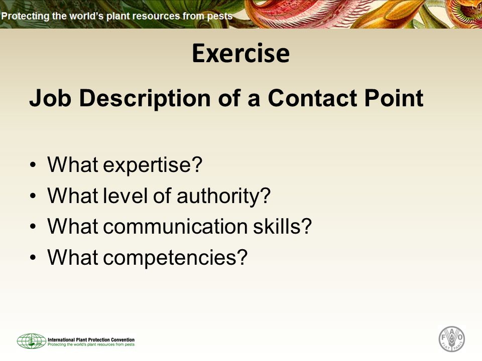 Exercise Job Description of a Contact Point What expertise.