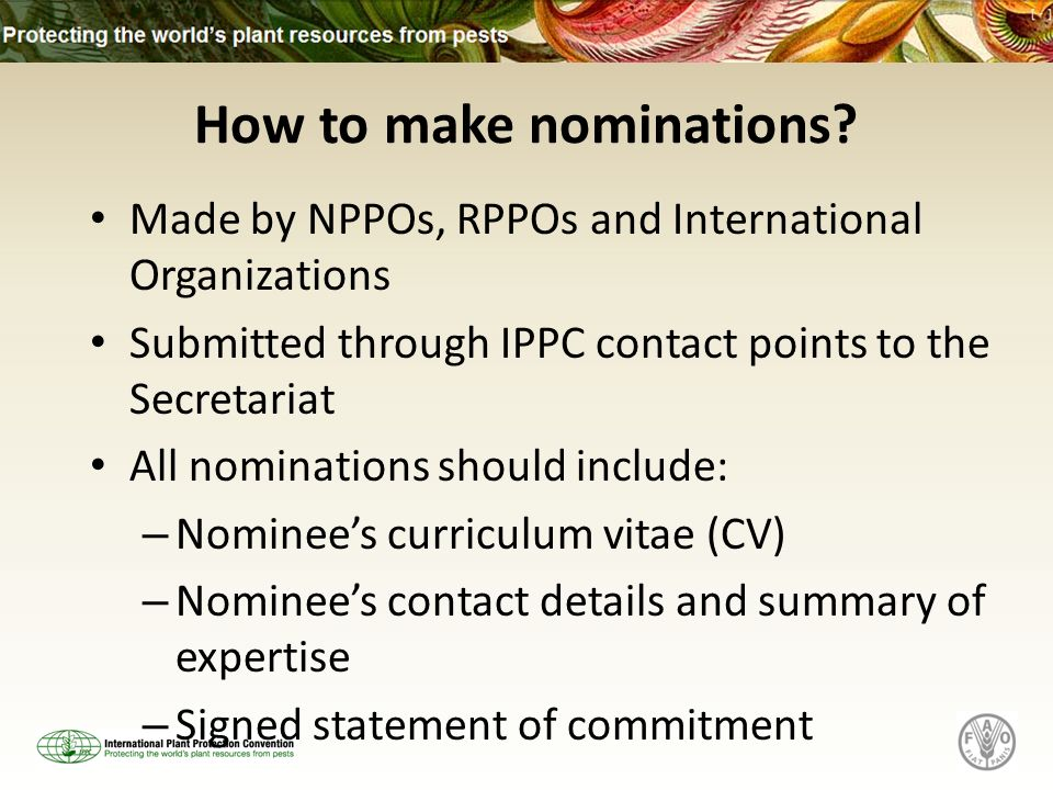 How to make nominations? Made by NPPOs, RPPOs and International Organizations Submitted through IPPC contact points to the Secretariat All nominations