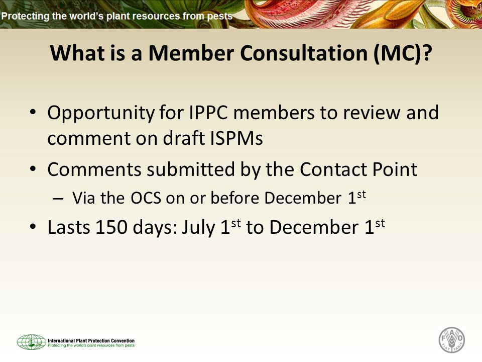 What is a Member Consultation (MC)? Opportunity for IPPC members to review and comment on draft ISPMs Comments submitted by the Contact Point – Via th