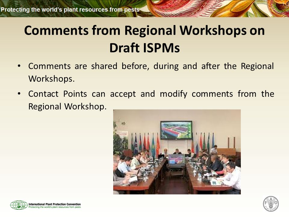 Comments from Regional Workshops on Draft ISPMs Comments are shared before, during and after the Regional Workshops.