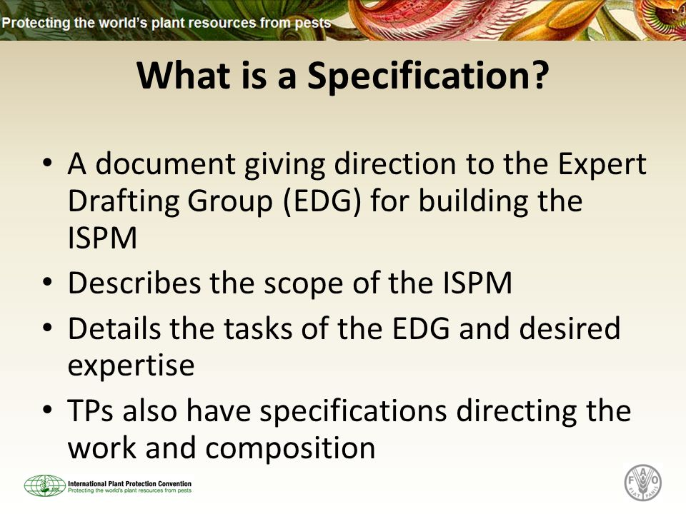 What is a Specification? A document giving direction to the Expert Drafting Group (EDG) for building the ISPM Describes the scope of the ISPM Details