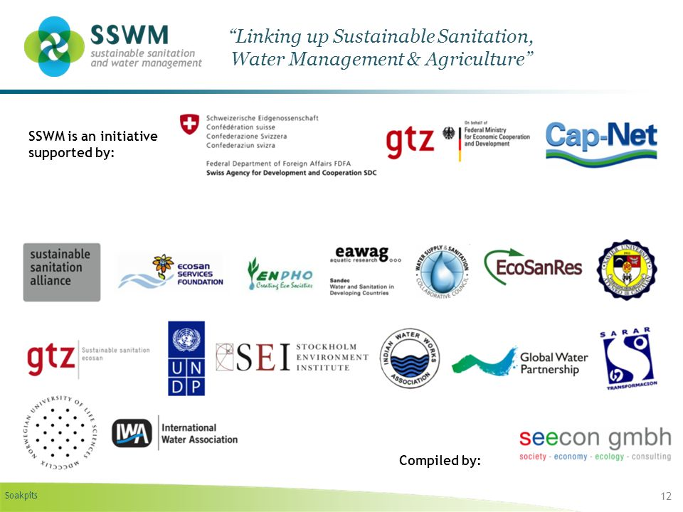 Soakpits 12 Linking up Sustainable Sanitation, Water Management & Agriculture SSWM is an initiative supported by: Compiled by: