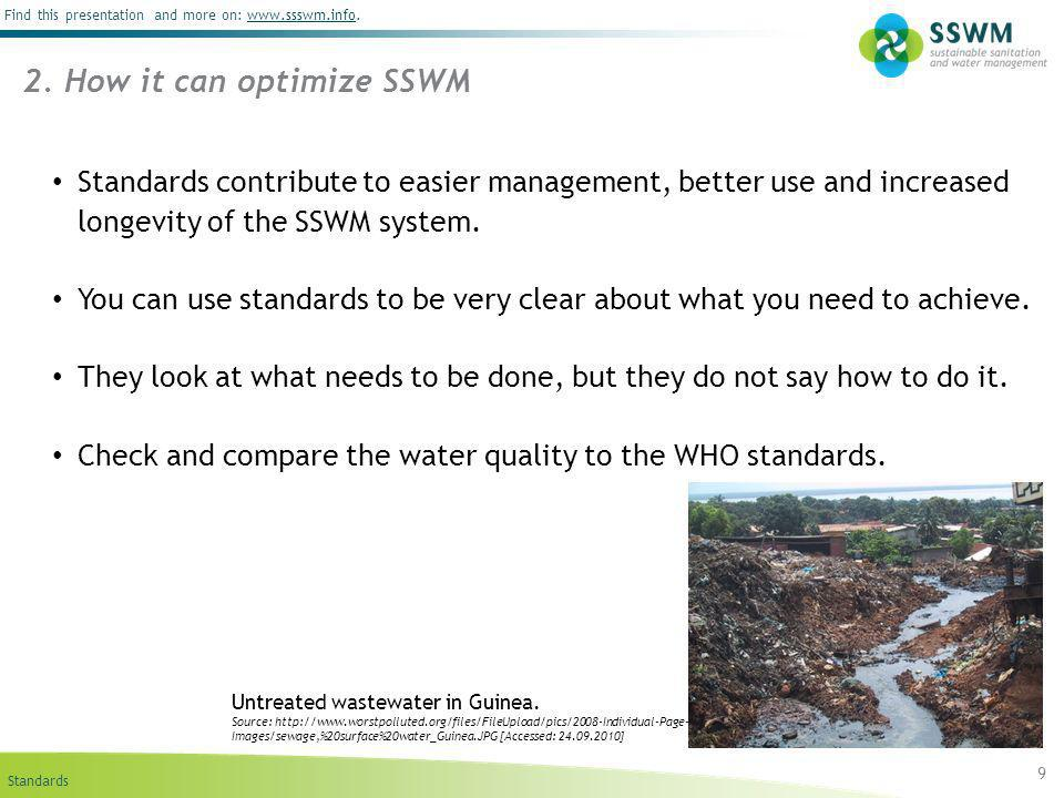 Standards Find this presentation and more on: www.ssswm.info.www.ssswm.info 9 2. How it can optimize SSWM Standards contribute to easier management, b