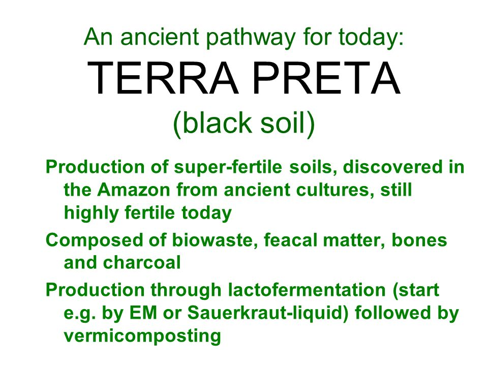 An ancient pathway for today: TERRA PRETA (black soil) Production of super-fertile soils, discovered in the Amazon from ancient cultures, still highly fertile today Composed of biowaste, feacal matter, bones and charcoal Production through lactofermentation (start e.g.