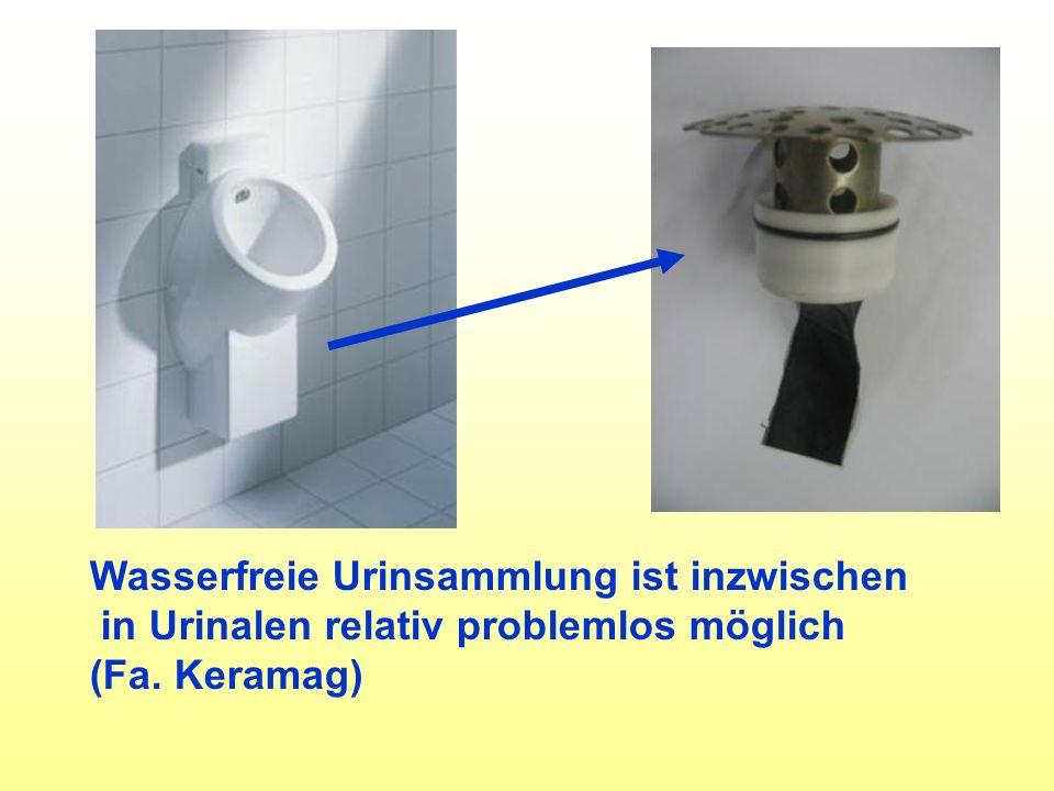 Wasserfreie Urinsammlung ist inzwischen in Urinalen relativ problemlos möglich (Fa. Keramag)