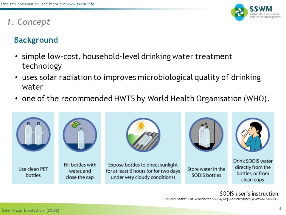 Solar Water Disinfection (SODIS) Find this presentation and more on: www.sswm.info.www.sswm.info 4 Background 1. Concept SODIS users instruction Sourc