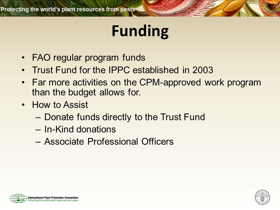 Funding FAO regular program funds Trust Fund for the IPPC established in 2003 Far more activities on the CPM-approved work program than the budget allows for.
