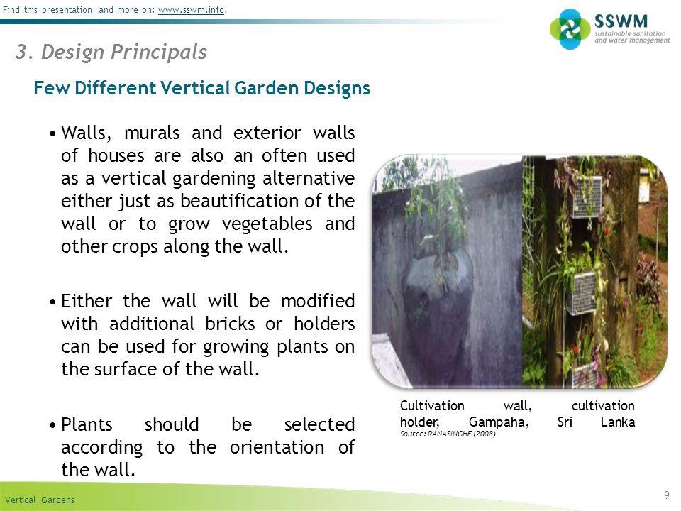 Vertical Gardens Find this presentation and more on: www.sswm.info.www.sswm.info 9 3.
